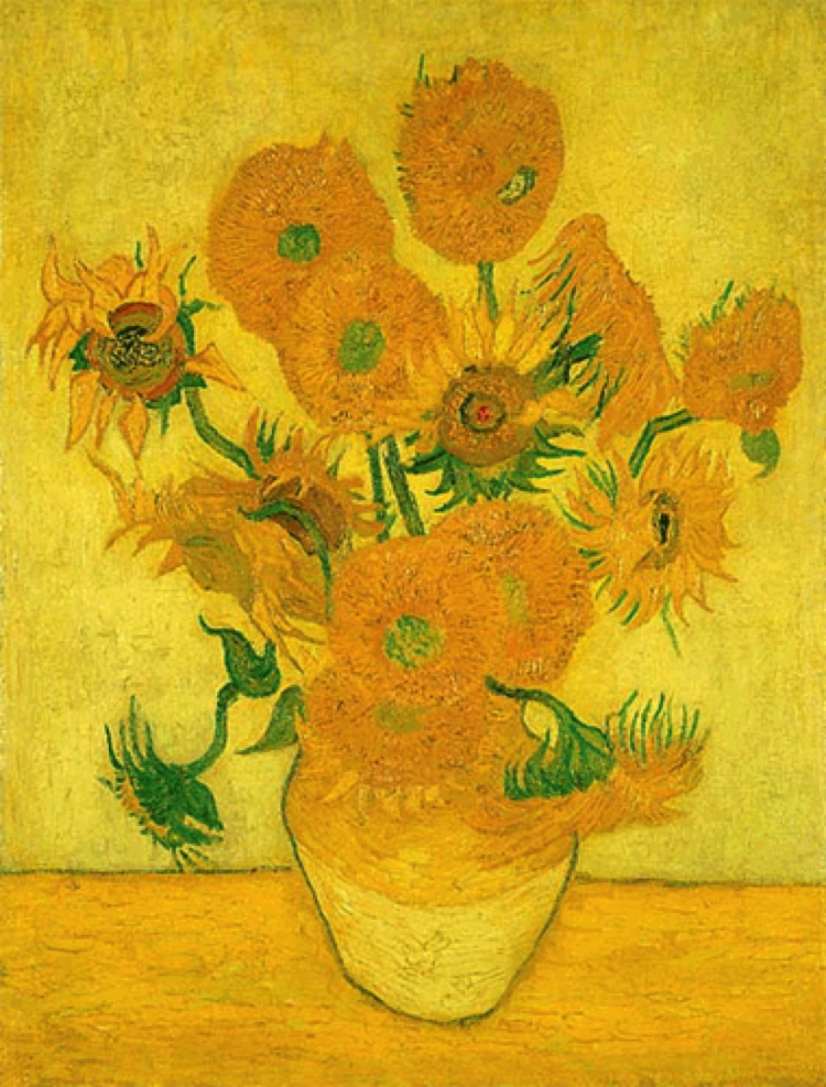 The Gorgeous sunflower artwork by Vincent van Gogh. There were many in this series, many of which, when examined under an X-ray show van Gogh's process of incessantly repainting over mistakes until he achieved perfection.