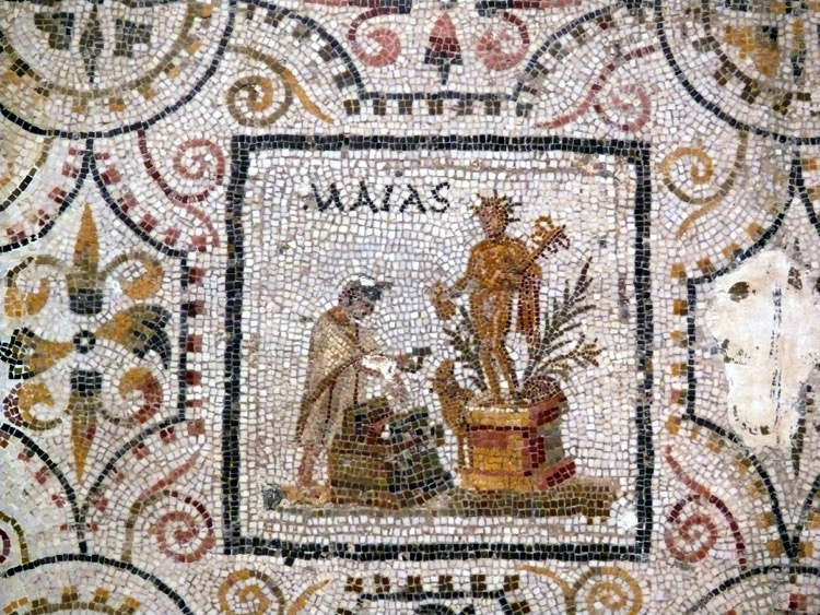 A Roman mosaic art from the ancient Thysdro with illustration of the month of May