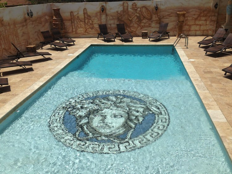 Versace logo made into swimming pool mosaic artwork