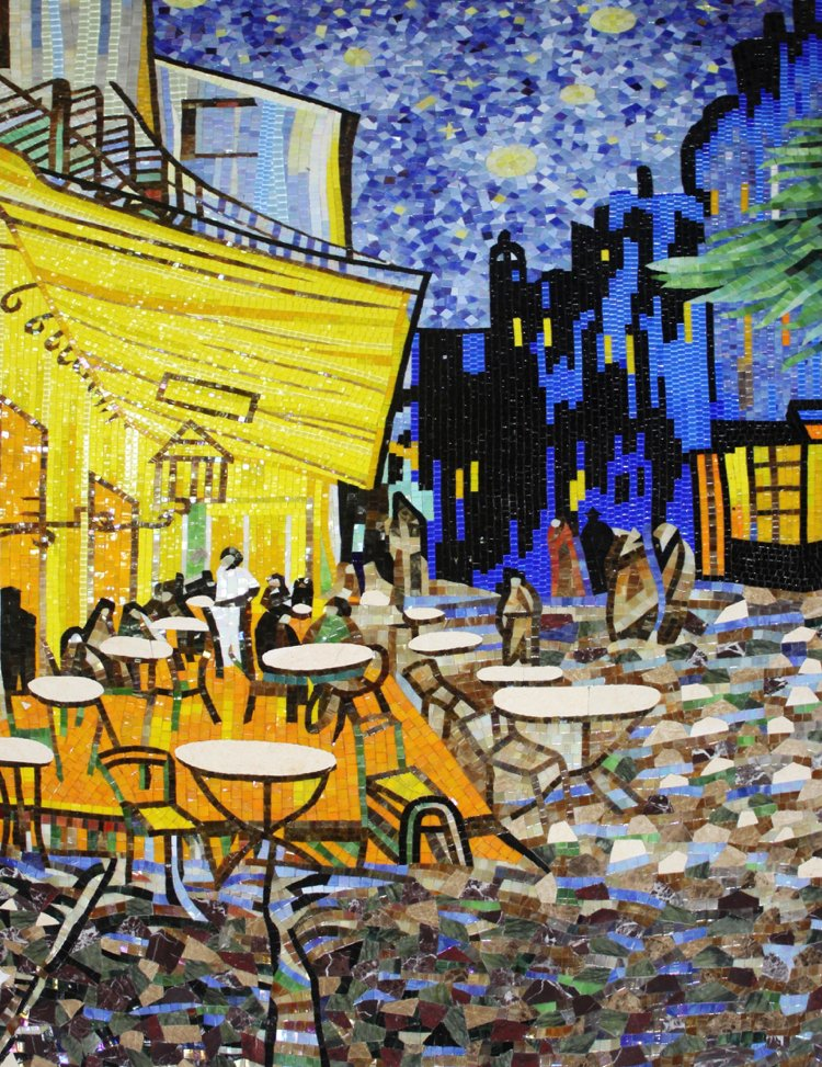 Cafe Terrace at Night mosaic artwork design reproduction by Mosaics Lab.