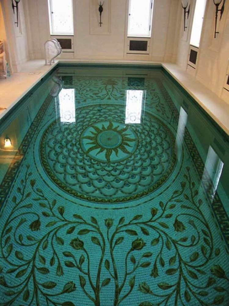 Roman Inspired Pool Mosaic Artwork