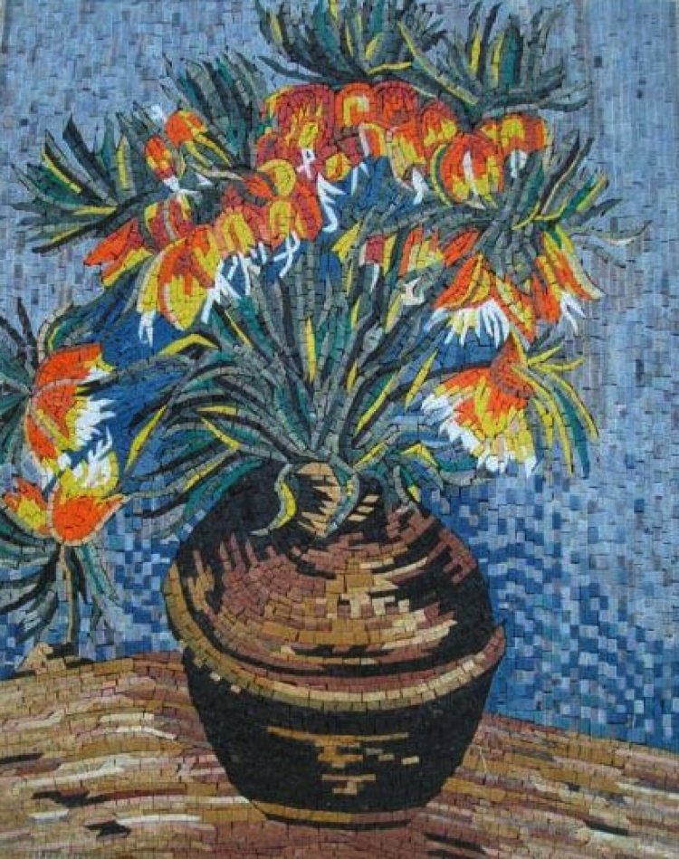 A handmade mosaic artwork reproduction of Van Gogh's Flowers in a vase by Mosaics Lab