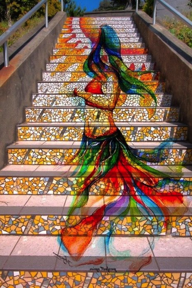 Vibrant Public Stairs Mosaic | Mosaics Lab | Tile Mosaic Artwork, Mosaic Patterns, Handmade Mosaic Art