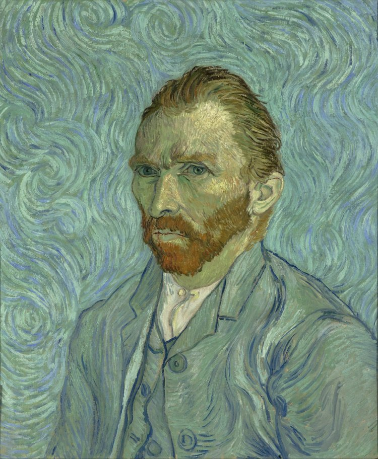 Van Gogh's moody self-portraits depict an undeniably thoughtful and earnest man, surrounded by beautiful swirls, perhaps representing his noisy mind.