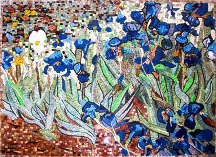 Van Gogh's Irises (1889). Mosaic design reproduction by Mosaics Lab