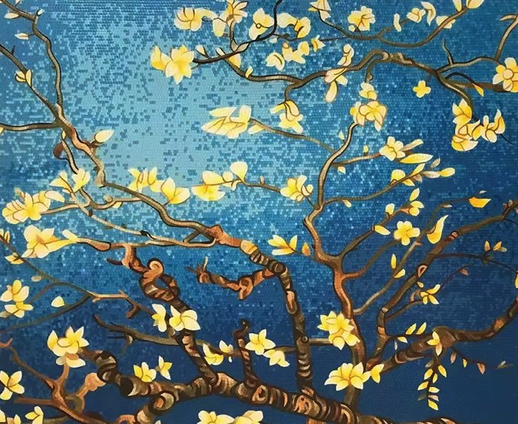 Almond Blossom, 1890, Vincent van Gogh. Hand-crafted Mosaic Artwork reproduction by Mosaics Lab