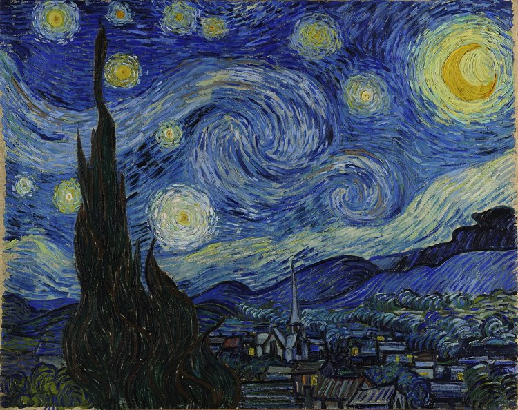 The infamous Starry night, that has inspired many home accents, tattoos, clothing, and even cakes!