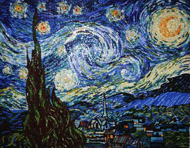 A gorgeous mosaic design inspired by Starry night.