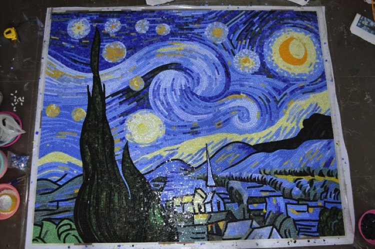 A modern work in progress mosaic artwork inspired by Starry night. Handmade mosaic artwork by Mosaics Lab.