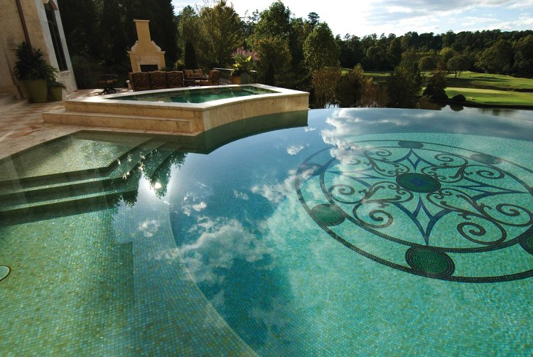Arabesque Swimming Pool Mosaic Artwork by Westside Tile