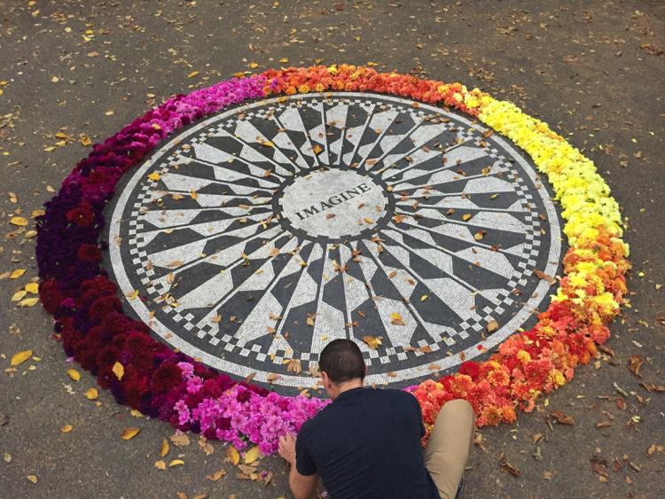 John Lennon's memorial at Strawberry fields, Central Park, New York City.