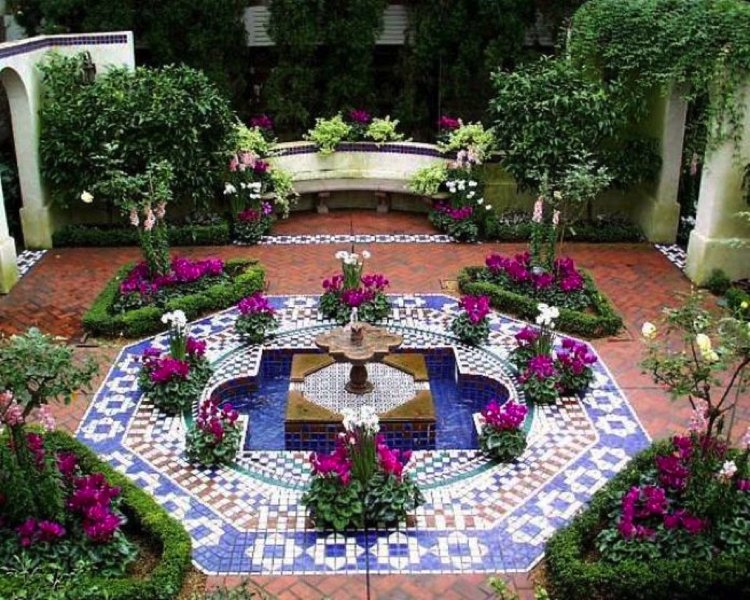 Garden mosaic tile rug made of ceramic tiles