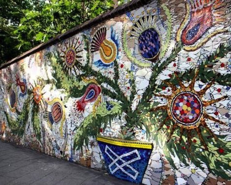 Unique mosaic wall garden art