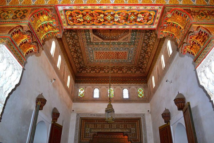 This incredible ceiling mosaic artwork combines warm colours and lively pattern.