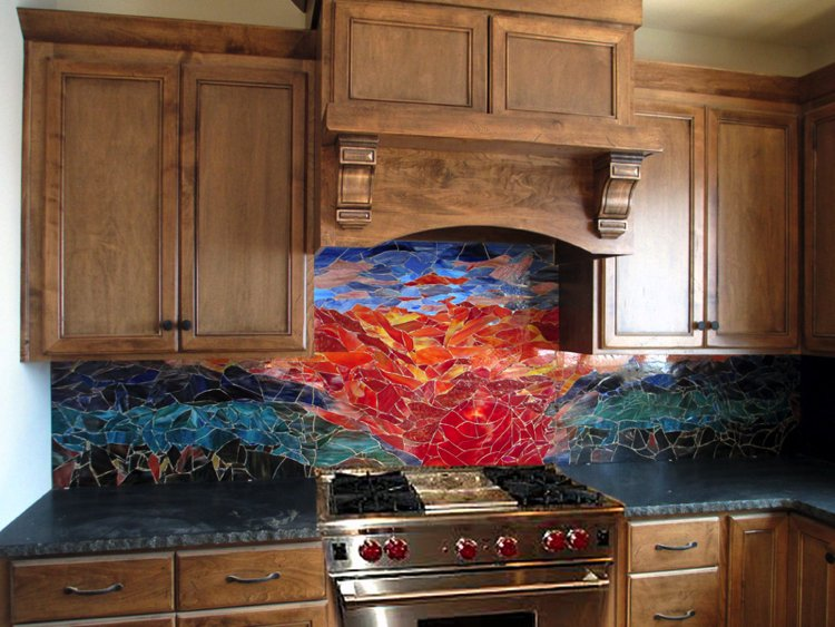 Mosaic Backsplash Artwork by Designer Glass Mosaics