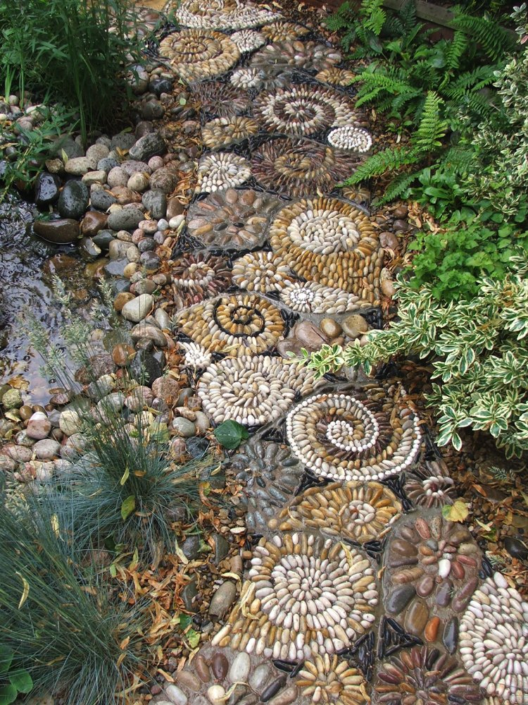 Pebble spirals mosaic artwork