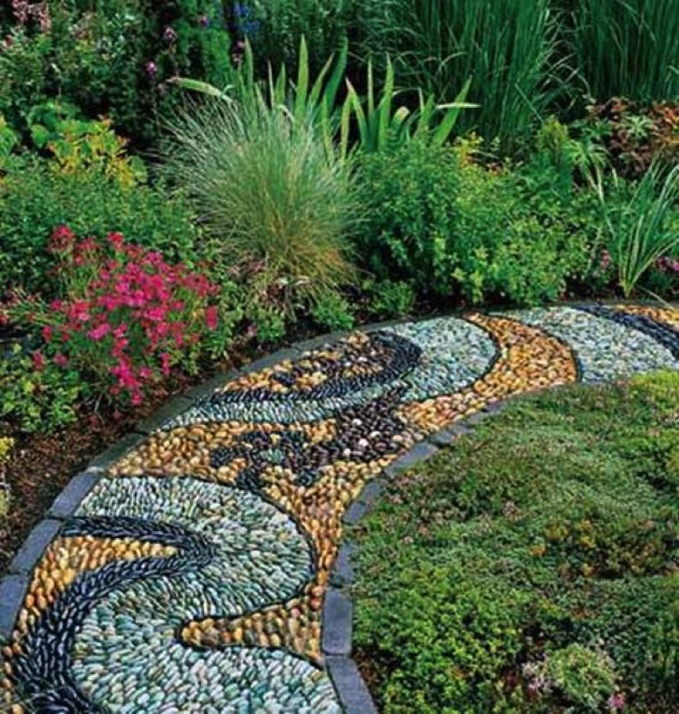 Handmade mosaic stone artwork for the garden