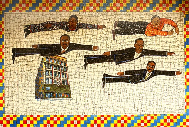 Fantastic colour and tile craft combine to create a gorgeous empowering piece at the New York City Subway.