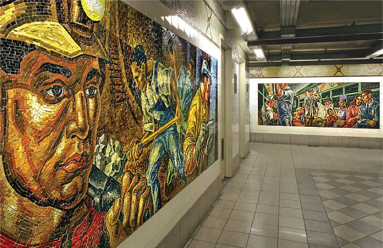 This beautiful glossy mosaic artwork covers themes of work and culture whilst maintaining a beauty in its own right.