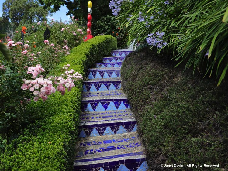 a beautiful and elegant mosaic decorated stairway