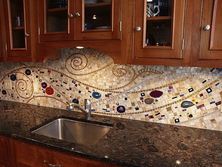 Klimt inspired Kitchen Backsplash Design