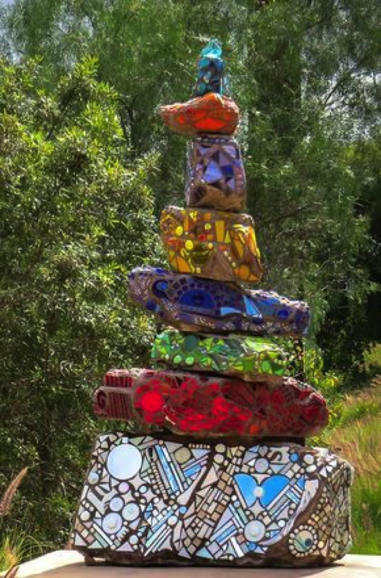 Colourful and playful stone tower Mosaic Artwork