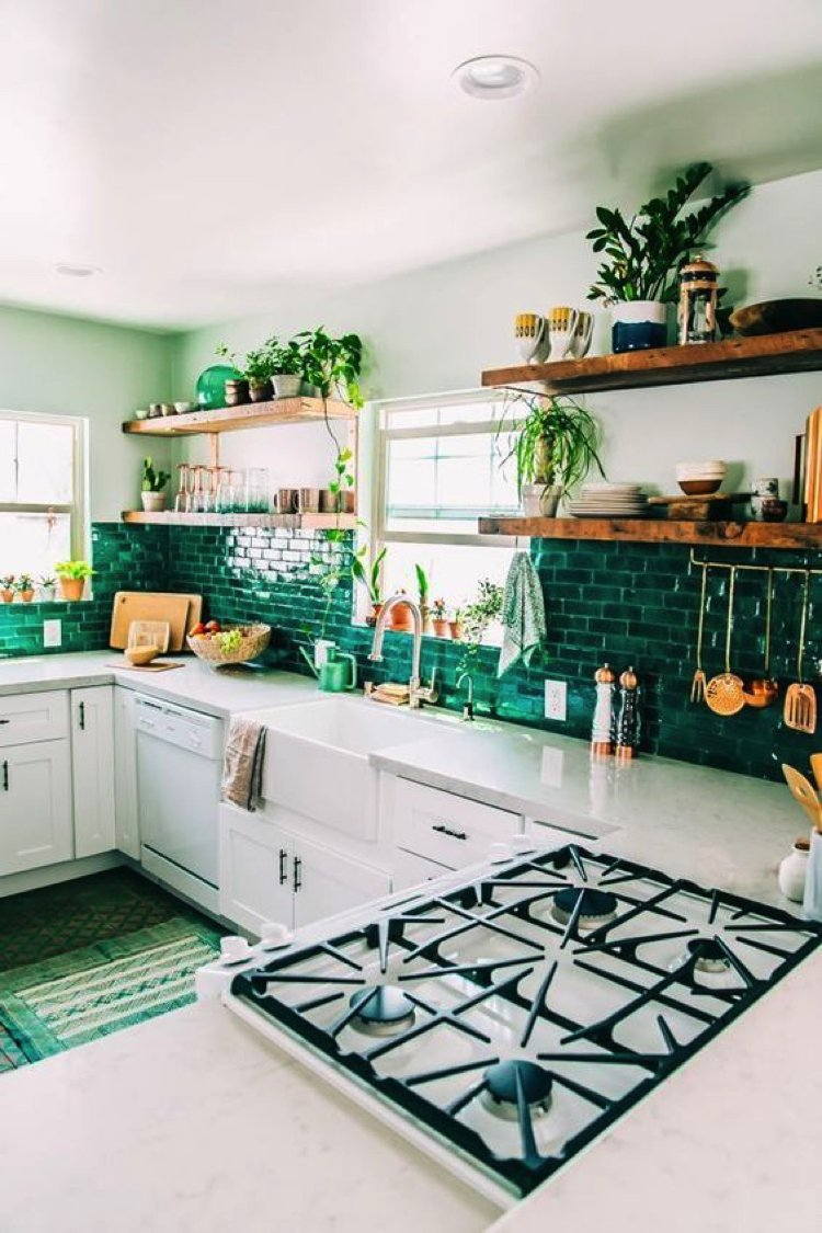 Green tile mosaic kitchen backsplash