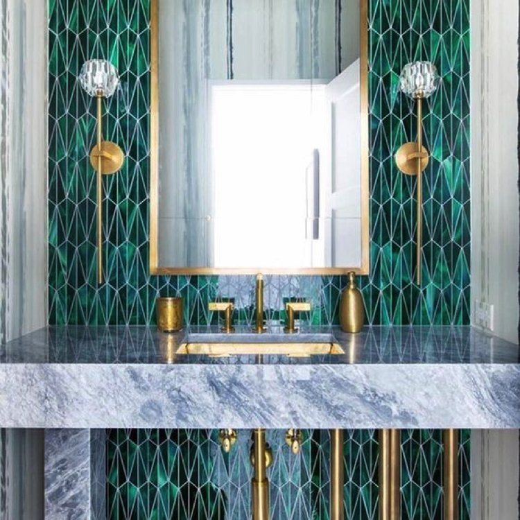 Gorgeous and bold bathroom backsplash that truly stands out.