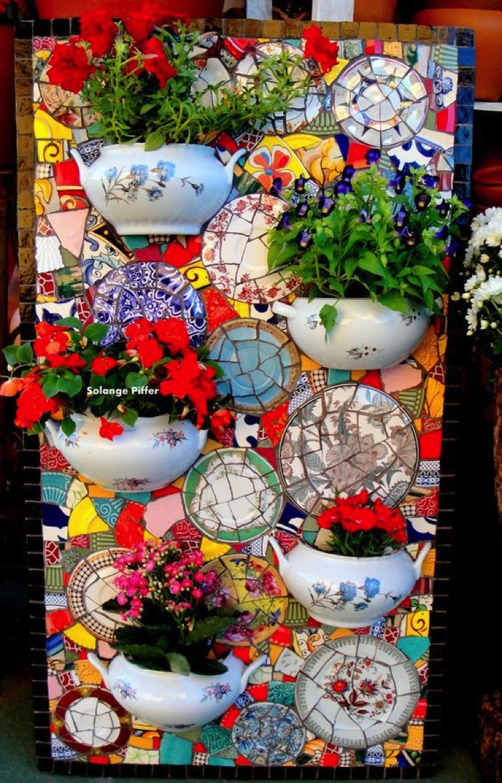 Broken plates and broken china mosaic design