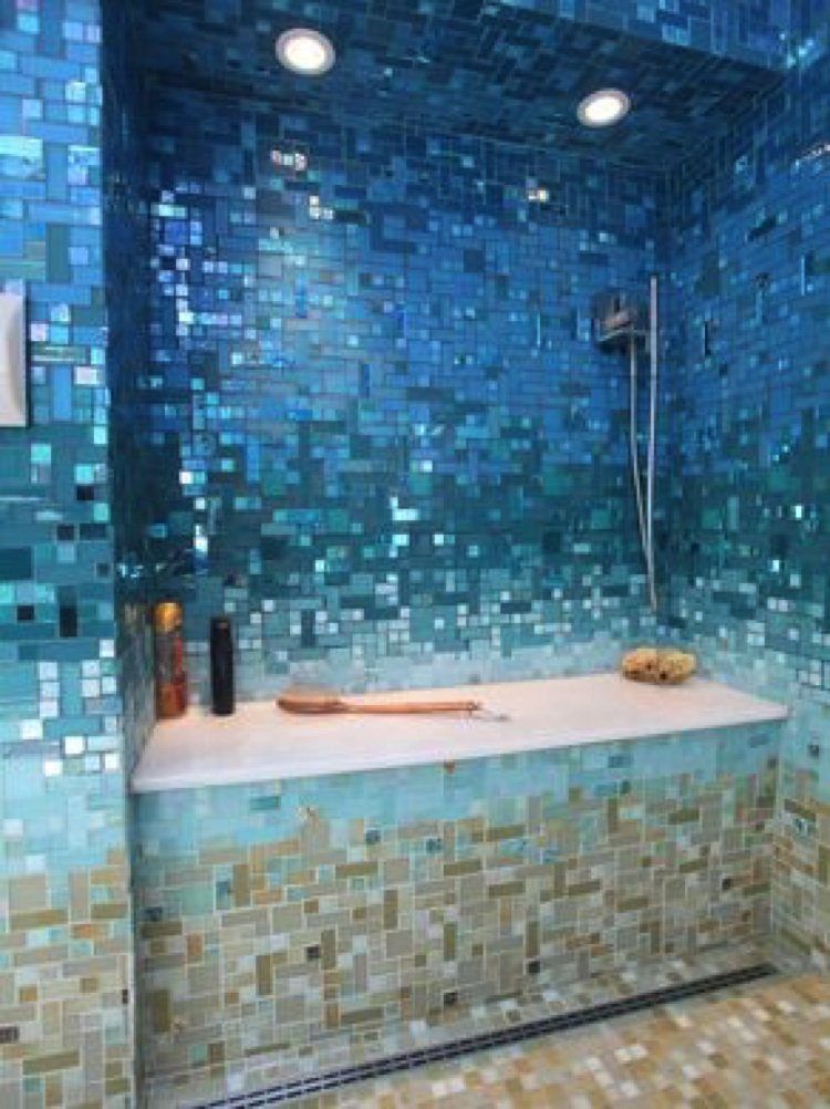 Soothing mosaic tiles create a relaxing and calming space.