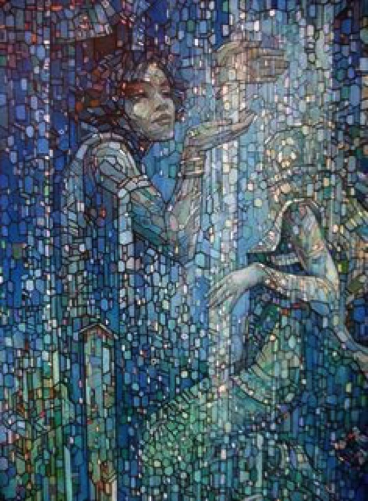Enchanting harpists are the perfect combination of contemporary mosaic art and feminine beauty.