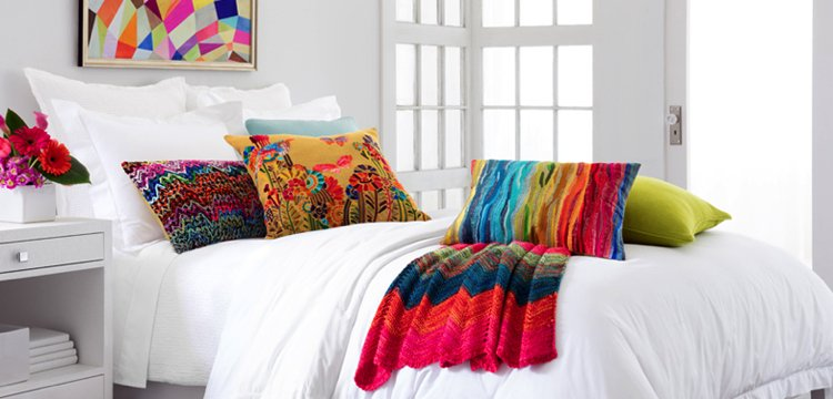 Colorful and vibrant decorative bed pillows.