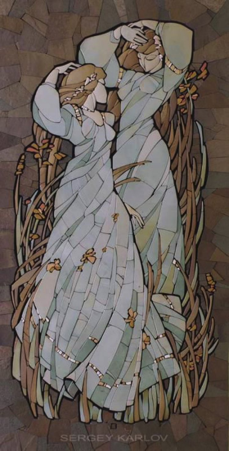 This stylized classicism mosaic Art would look beautiful above a bed for a touch of natural and earthy sophistication.