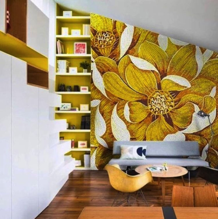 Custom Mosaic artwork elevates the look and feel of the space. Mosaic Artwork by Mosaics Lab.