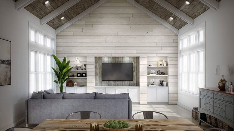 Two variations of shiplap in one room, on wall and ceiling.
