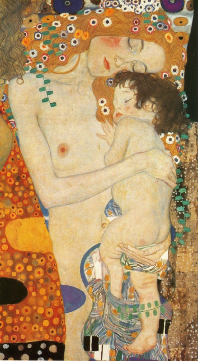 The close bond between mother and child painting by Gustav Klimt