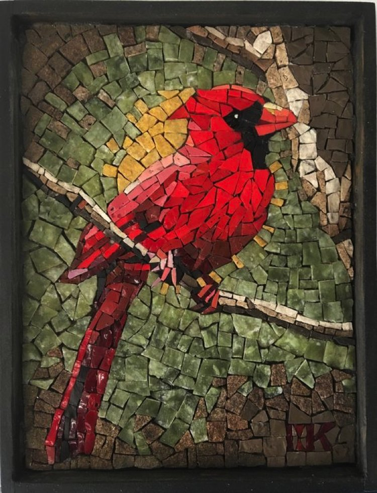 This bright little mosaic art bird peers through a keen, beady eye over wonderfully placed jade mosaic.