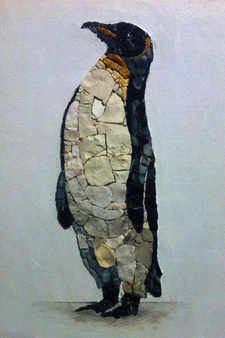 A stone mosaic penguin would look perfect on a bathroom backsplash with natural stone gradients and finely placed wings. A beautiful contemporary mosaic artwork.