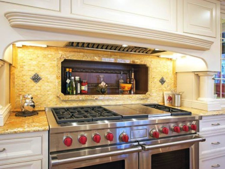 Beautiful handmade tile mosaic kitchen backsplash
