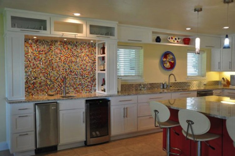 Colorful kitchen mosaic backsplash.