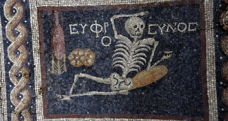 Ancient Mosaic Art showing a skeleton.