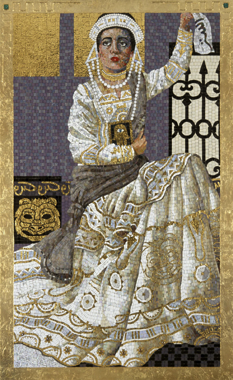 Contemporary Wall mosaic art of Esther's Offering by Lilian Broca.