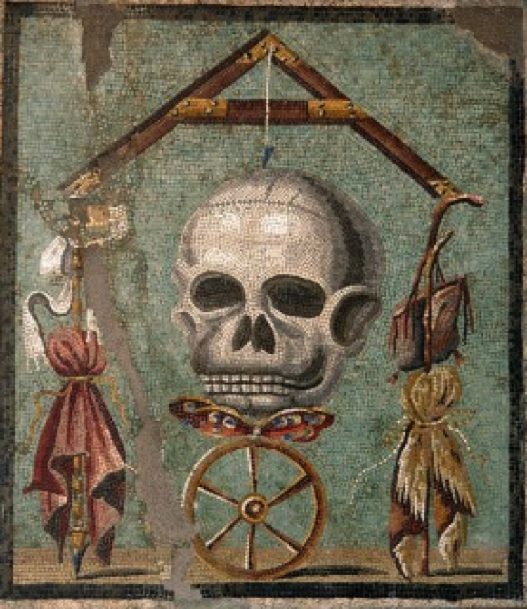 The Skull And The Level Mosaic Artwork.