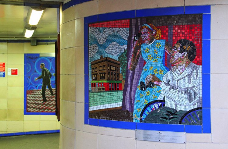 The Review Mirror Mosaic at Leytonstone tube station, London, UK