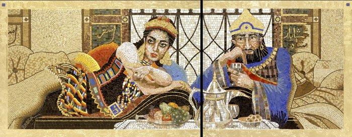 The opulent brightness of the characters in their fine robes and jewels from this contemporary mosaic art. Queen Esther's Banquet by Lilian Broca.