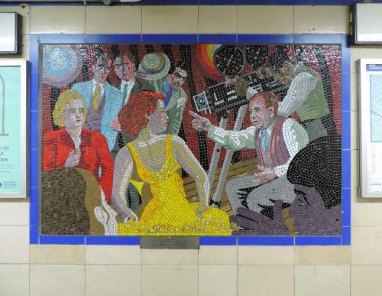 Alfred Hitchcock Directing Mosaic Artwork Leytonstone tube station, London, UK