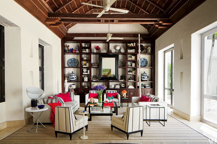Eclectic home interior living room designed by Richard Mishaan