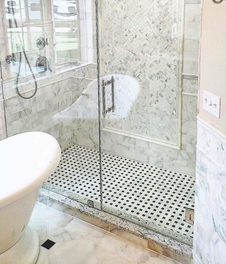 simple and classic contemporary bathroom mosaics tile floor