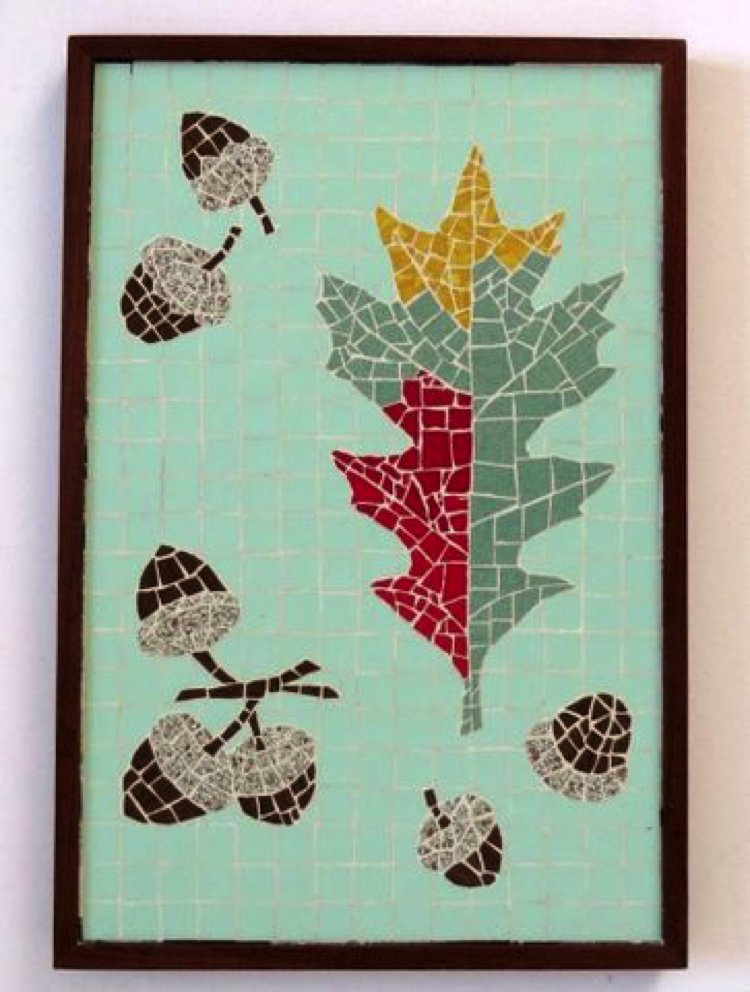Humble fall acorn and oak leaf colorfully presented in a neat customized mosaic design.