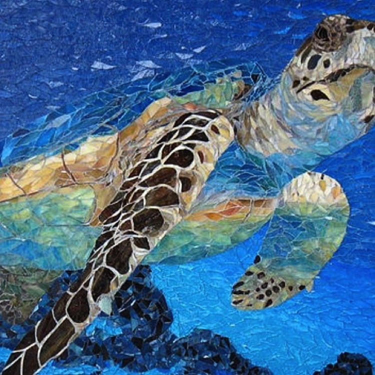 Gorgeous deep sea mosaic design showing a sea turtle.